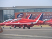 The famous RAF Red Arrows at the Farnborough International Airshow.