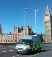 Mobile CCTV unit on patrol  by Parliament, London