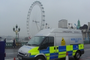Mobile CCTV Unit on the Westminster Bridge during the London Marathon.